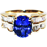 3 CT Royal Blue Natural Tanzanite and Diamond Ring in 14KT Yellow Gold