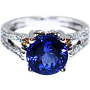 3.3 CT Royal Blue Natural Tanzanite and Diamond Ring in 14KT White Gold