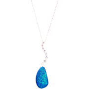 Handmade Natural Australian Opal and Diamond Necklace in 14KT White Gold