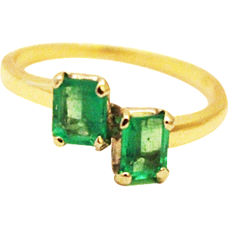 Natural Double Emerald Cut Colombian Emerald 14KT Yellow Gold Ring