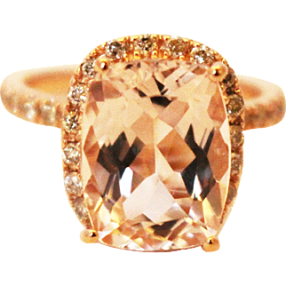 Unique Elegant Natural Morganite Diamond Cocktail Ring in 14KT Rose Gold