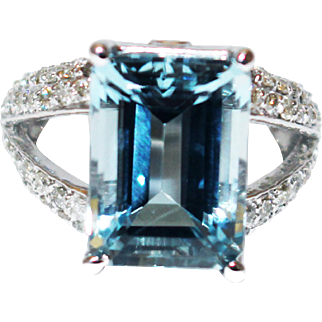 8.5 CT Emerald Cut Aquamarine and Diamond Ring in 14KT White Gold