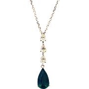 Paraiba Tourmaline and Diamonds Necklace in 14KT White Gold