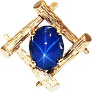 Amazing Organic Style Natural Star Sapphire Ring in 14KT Yellow Gold