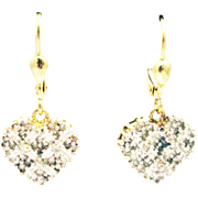 Diamond Heart Earrings 14KT Yellow Gold Earrings