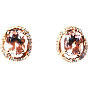 2CT Natural Pink Morganite and Diamond Earrings in 14 KT Rose Gold