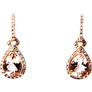 4CT Natural Pink Morganite and Diamond Earrings in 14 KT Rose Gold