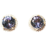 3 CT Natural Tanzanite and Diamond Stud Earrings 14KT Yellow Gold