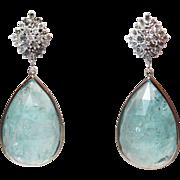 50CT Rose Cut Aquamarine and Diamonds Earrings 14KT White Gold