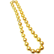 Stunning Rich Color Cultured Golden South Sea Round Pearls and Diamonds 14KT Gold Necklace