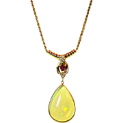 12CT Natural Ethiopian Opal Diamond Ruby Necklace 14kt Gold
