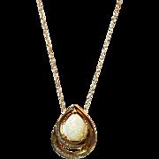 2.5CT Natural Australian Opal Diamond Necklace 14kt Gold