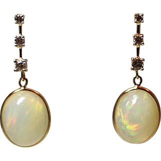 Natural Ethiopian Opal and Diamond Earrings 14KT Gold