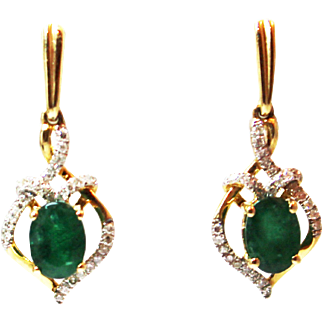 1.5CT Natural Colombian Emerald and Diamonds Earrings in 14KT Yellow Gold