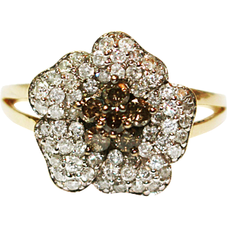 1.5CT Natural Chocolate and White Diamond Flower Ring in 14KT White Gold