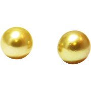 12.5mm Cultured Rich Intense Golden South Sea Pearl Earrings 14KT Yellow Gold