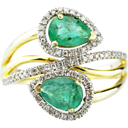 Modern Natural Double Pear Cut Colombian Emerald and Diamond 14KT Yellow Gold Bypass Ring