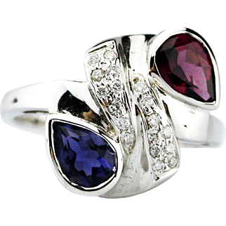 Iolite, Rhodolite and Diamond Bypass Ring in 14KT White Gold