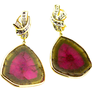 46CT Natural Watermelon Tourmaline Trillion Slice with Diamonds Earrings 14KT Gold
