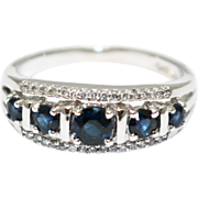 2CT Most Stunning Natural Blue Sapphire Diamond Ring 14KT White Gold