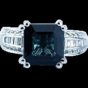 Asscher Cut Teal Blue Paraiba Tourmaline and Diamond Ring in 14KT White Gold