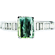 Seafoam Paraiba Tourmaline and Diamond Ring in Platinum