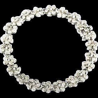 2.5 CT Flower Diamond Bracelet 14KT White Gold Bracelet