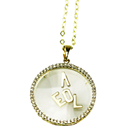 1 CT Bezel Diamond Floating LOVE Letters Necklace 14KT Yellow Gold