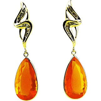 Amazing Rare Natural 27CT Mexican Fire Opal Diamond 14KT Yellow Gold