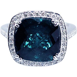 7CT Teal Blue Paraiba Tourmaline and Diamond Ring in 14KT White Gold