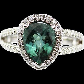 Seaform Paraiba Tourmaline and Diamond Ring in 14KT White Gold