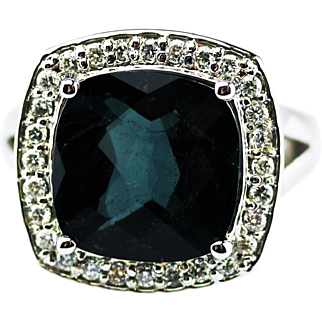 Teal Blue Paraiba Tourmaline and Diamond Ring in 14KT White Gold