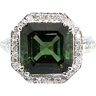 Asscher Cut Chrome Tourmaline and Diamond Ring in 14KT White Gold