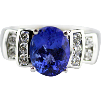 3 CT Royal Blue Natural Tanzanite and Diamond Ring in 18KT White Gold