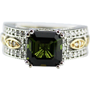Asscher Cut Chrome Tourmaline and Diamond Ring in 14KT White and Yellow Gold