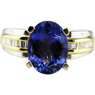 4 CT Royal Blue Natural Tanzanite and Diamond Ring in 18KT White Gold