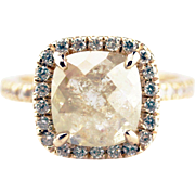 Natural Rose Cut Diamond Engagement Ring in 14KT Rose Gold