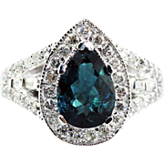 Paraiba Tourmaline and Diamond Ring in 14KT White Gold