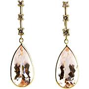 11CT Natural Pink Morganite and Diamond Earrings in 14 KT Yellow Gold