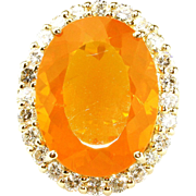 20CT Natural Mexican Fire Opal and Diamond Ring in 14KT Yellow Gold