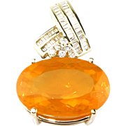 Elegant 20 CT Mexican Fire Opal Diamond 14KT Gold Pendant
