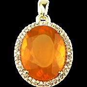 Elegant 11 CT Mexican Fire Opal Diamond 14KT Gold Pendant