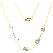 Handmade Modern Diamond Slice Necklace 14KT Yellow Gold