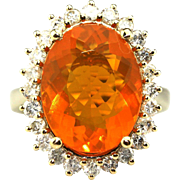 9CT Natural Mexican Fire Opal and Diamond Ring in 14KT Yellow Gold
