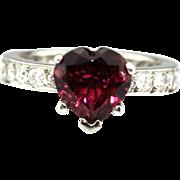 Natural Rubellite Raspberry Pink Tourmaline and Diamond Engagement Wedding Ring in Platinum
