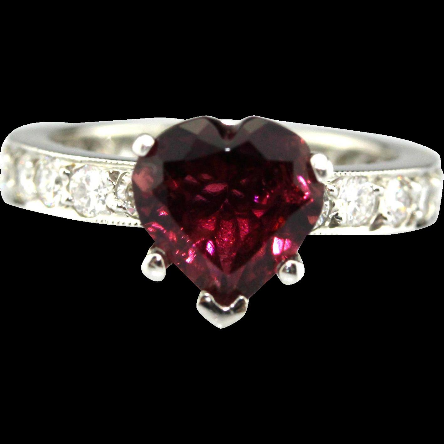 Natural Rubellite Raspberry Pink Tourmaline And Diamond