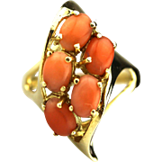 Natural Italian Pink Coral Ring in 14KT Gold