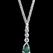 Seafoam Paraiba Tourmaline and Diamonds Necklace in 14KT White Gold
