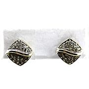 Natural Chocolate and White Diamond Earrings 18KT White Gold