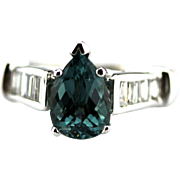 Paraiba Tourmaline and Diamond Ring in 14KT White Gold